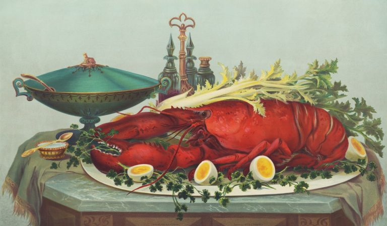 panting of lobster on a dish