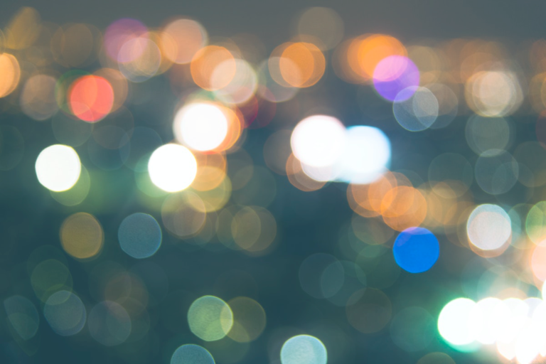blurry colorful lights at night