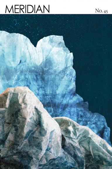 cover image of Meridian issue 45, blue and gray icy landscape with night stars